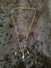 Vtg 14k Yellow Gold Topaz Pendant and Earring Set with Chain