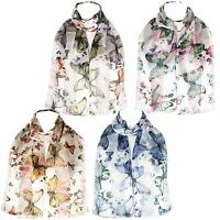 Chiffon Satin Ladies Butterfly Print Scarf Shawl