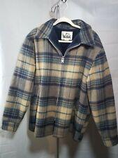 WOOLRICH VTG Mens XLarge Flannel blue Plaid Lined Coat Jacket Vintage