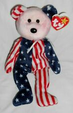 Ty Beanie Baby Babie - SPANGLE Red Pink Face Patriotic Bear Retired OOP RARE NWT