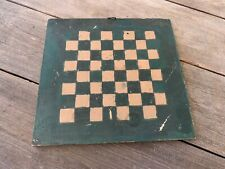 """New ListingSmall 11-1/2"""" Antique Am.19th C. Paint Decorated Checkerboard/Gameboard Aafa."""