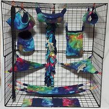 Classic Tie Dye * 15 PC Sugar Glider Cage set * Rat * double layer Fleece