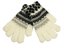 Warm Winter Gloves Knitted Womens Mens Christmas Snowflake Gloves White