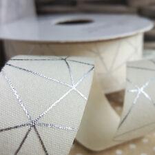 25mm Ivory / Cream & Silver Geometric Foil Print Ribbon Cotton Tape Metallic