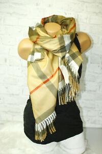 XXL blogger Kuschel Viskose Mix Schal Camel Karo Plaid Nova Check Cashmere