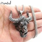MENDEL Mens Punk Large Heavy Bull Head Pendant Necklace Ox Stainless Steel Chain