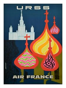 """Vintage France French Travel Poster Print AIR FRANCE to URSS USSR 18x24"""""""