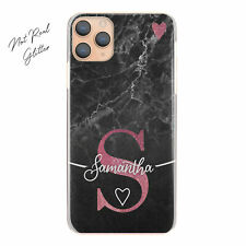 Personalised Initial Phone Case, Pink Heart on Black Marble Hard Cover with Name