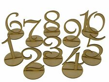 MDF Wooden Shape 10cm Table Numbers 1-20 with Base 3mm Thick Wedding Birthday