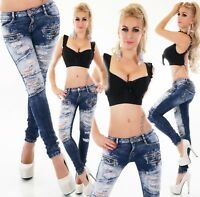 Damen Jeans Hose 7//8 Jeans Risse Löcher Fetzen mit Strass Trendy Young Fashion
