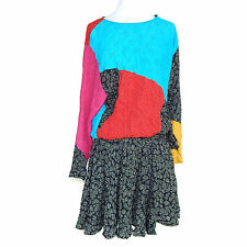CAROLE LITTLE Vintage Color Block Dolman Sleeve Elastic Waist 80's Glam Dress L