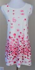 Z D~Beautiful Fashion~NWT~Sz XL~White Pink Red~Floral~Sleeveless~Pull Over Dress