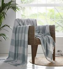 Large Window Pane Check 100% Cotton Throw Fringed Grey & White 137cm x 170cm