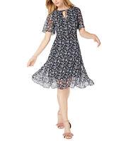 Maison Jules Womens Floral-Print V-Neckline Flutter-Sleeve Dress