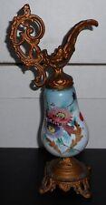 """VICTORIAN circa 1900 Art Nouveau EWER Hand Painted Milk Glass & Metal 14"""" T 6"""" D"""