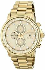 New Citizen Nighthawk Eco-Drive FB3002-53P Champagne Crystal Gold Tone Watch