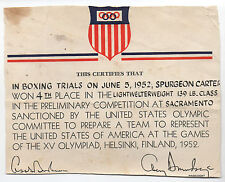 1952 US Olympic Card for Boxer Spurgeon Carter of Sacramento Helsinki