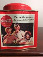 """Coca Cola Tin Plays """"Take Me Out To The Ball Game"""" Square With Round Top"""