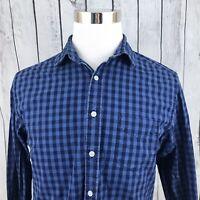 UNTUCKIT Men's Blue Black Check Long Sleeve Button Down Shirt Size M
