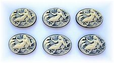 6 Fantasy IVORY color MERMAID on BLACK 25mm x 18mm Costume Jewelry Craft CAMEOS