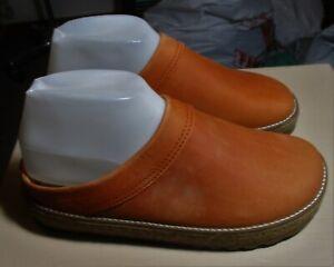 Women's HAFLINGER Rust Leather Slip-On Clog Shoes Size 7 US, 37 Eur NEW