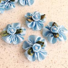 40 Blue Satin Ribbon Rose 30mm Ruffle Flower Bow Pearl Trim Leaf Wedding Craft