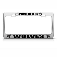 POWERED BY WOLVES Chrome License Plate Frame Tag Border