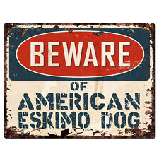 Ppdg0129 Beware of American Eskimo Dog Plate Rustic Tin Chic Sign Decor Gift