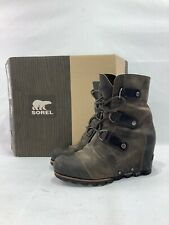 SOREL Joan of Arctic Leather Wedge Mid Boot NL1987-028 Women Sz 6.5 With Box