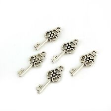 10pcs Beads FILIGREE Key Tibetan Silver Charms Pendant DIY 10*22mm