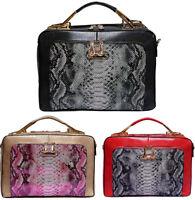 Snakeskin Work Bag Animal Snake Print Briefcase Designer Handbag Metallic Tote