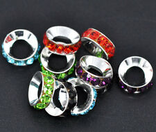5 Silver Tone Rhinestone Rondelle Beads 14x5mm Large Hole European Beads bme0025