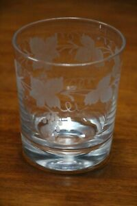 Antique extra Large cut crystal toasting tumbler glass grape vine engraved bowl