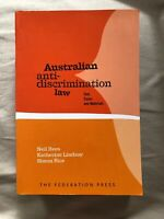Australian Anti-Discrimination Law: Text, Cases and Materials Textbook Neil Rees