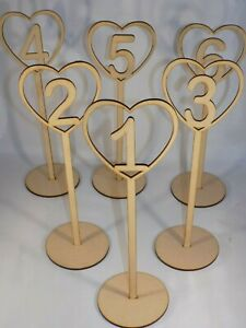 Freestanding Wooden heart table place numbers - Wedding - 30cm tall MDF *4 for 3