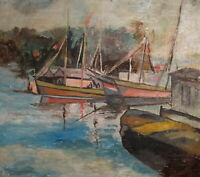 Vintage oil painting impressionist seascape landscape boats