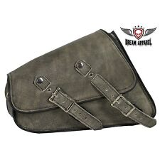 Motorcycle Right Side Swing Arm Bag Distressed Brown Leather Universal Fitting