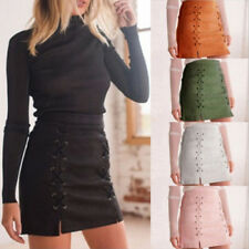 Women High Waist Lace Up Bodycon Suede Pocket Preppy Short Mini Pencil Skirt FT