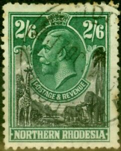 Northern Rhodesia 1925 2s6d Black & Green SG12 Good Used