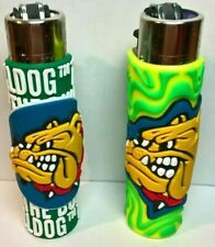 2 Clipper  **Bulldog - POP COVER** - Feuerzeug  - 2 Versionen - (Grün)  Reibr.