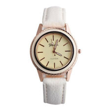 Fashion Women Men Classic Vogue Faux Leather Band Analog Quartz Gold Wrist Watch Black