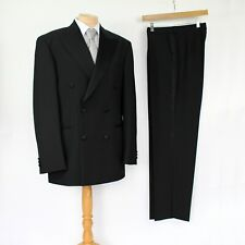 """M&S Black Wool Blend Double Breasted Dinner Tuxedo Suit 38"""" Trousers W30"""" L31"""""""