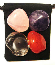 BREAST CANCER FIGHTER Tumbled Crystal Healing Set = 4 Stones + Pouch + Card