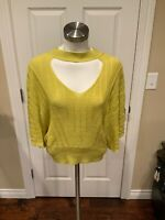 Knitted & Knotted Anthropologie Green V-Neck Cutout Sweater, Size Small