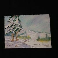 Vintage 90's Watercolor Painting / Unframed Wintery Landscape Trees Mountains