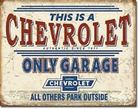 Chevrolet Only Chevy Racing Weathered Garage Shop Man Cave Retro Wall Decor Sign