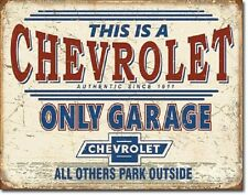 Chevrolet Only Garage Chevy Racing Weathered Retro Wall Decor Metal Tin Sign New