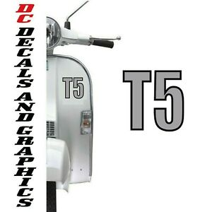 VESPA T5 LETTERS STICKER FRONT LEG SHIELD FLYSCREEN DECALS GRAPHICS