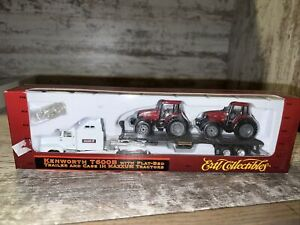 1/87th Kenworth T600B W/ Flatbed Trailer & Case IH MX135 Maxxum Tractors Ertl