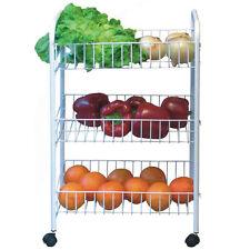 3 Tier Kitchen Trolley On Wheel Vegetable Rack Fruit Storage Basket Corner  Shelf